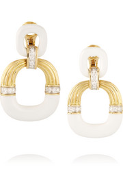 Radiator 18-karat gold, platinum, enamel and diamond clip earrings