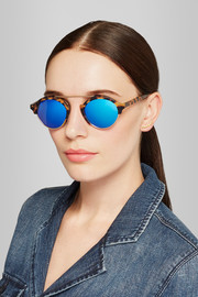 Illesteva Milan IV round-frame metal and acetate mirrored sunglasses