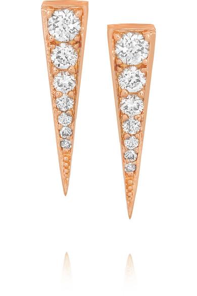 Anita Ko - Small Dagger 18-karat Rose Gold Diamond Earrings
