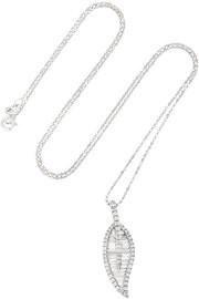 Large Leaf 18-karat white gold diamond necklace