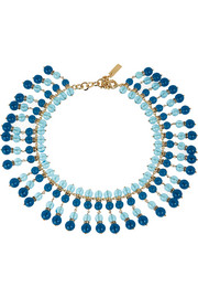 Gold-plated, bead and Swarovski crystal necklace