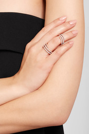 Coil 18-karat rose gold diamond pinky ring