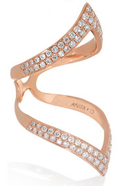 Chevron 18-karat rose gold diamond ring