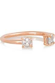 Asscher 18-karat rose gold diamond ring