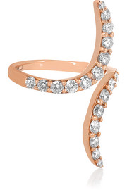 Double Curve 18-karat rose gold diamond ring