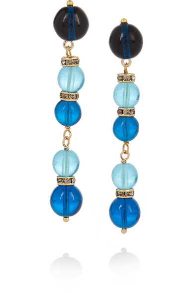 Etro - Gold-plated, Bead And Swarovski Crystal Earrings - Blue