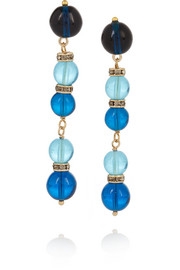 Gold-plated, bead and Swarovski crystal earrings