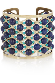Gold-plated, lapis lazuli and turquoise cuff