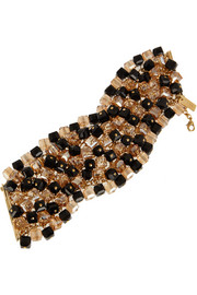 Gold-plated, bead and Swarovski crystal bracelet