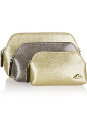 Love set of three glittered PVC pouches