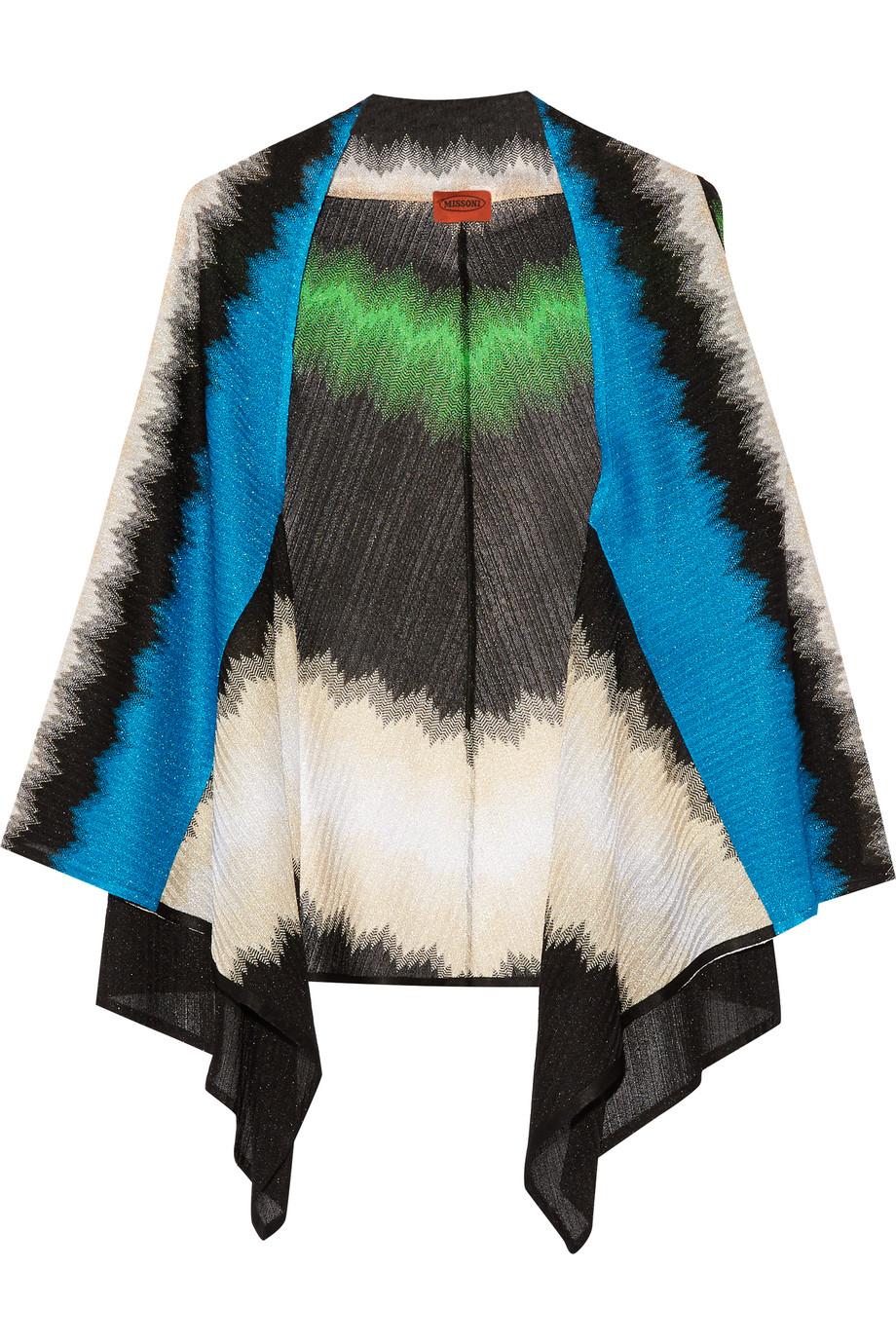 Missoni Metallic Crochet-Knit Wrap, Green/Blue, Women's