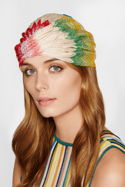 Crochet-knit turban