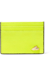 Love Tuxedo neon textured-leather cardholder