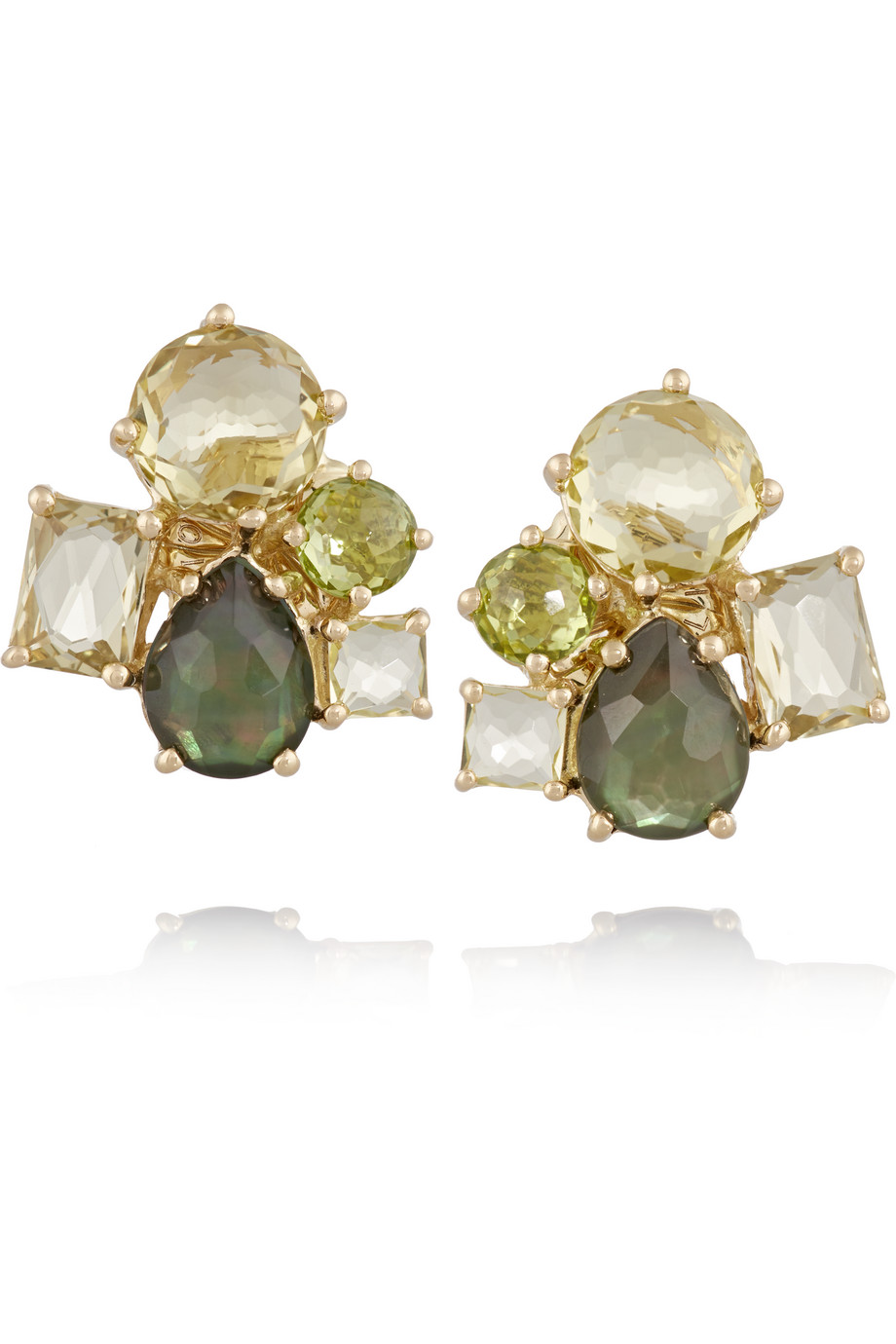Ippolita Rock Candy Cluster 18-Karat Gold Multi-Stone Earrings, Gold/Green, Women's