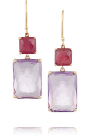 Rock Candy Rectangle Snowman 18-karat gold, faux ruby and amethyst earrings