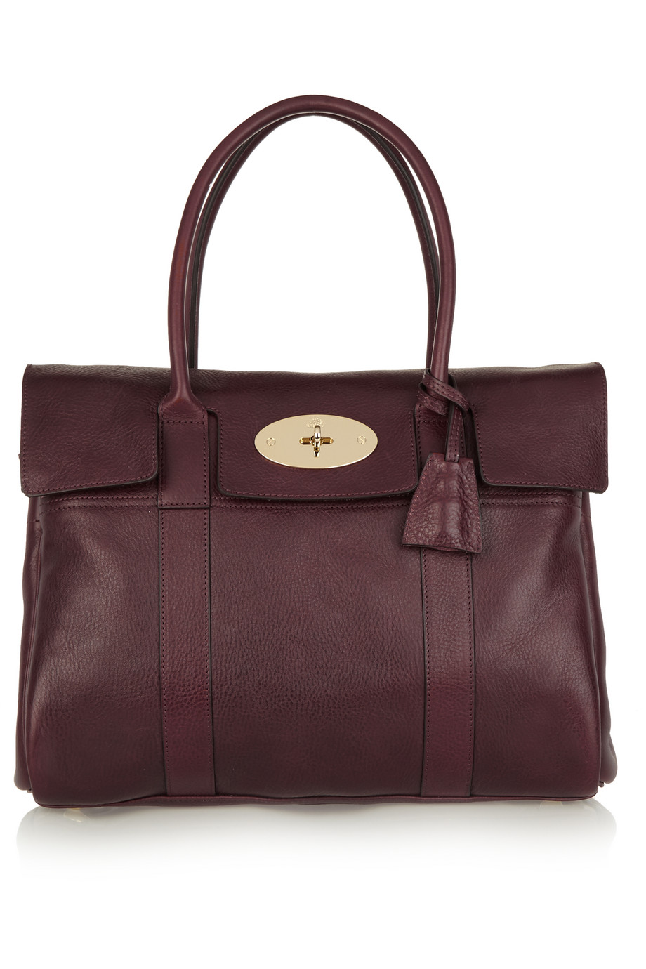 Mulberry The Bayswater Textured-Leather Tote, Burgundy, Women's