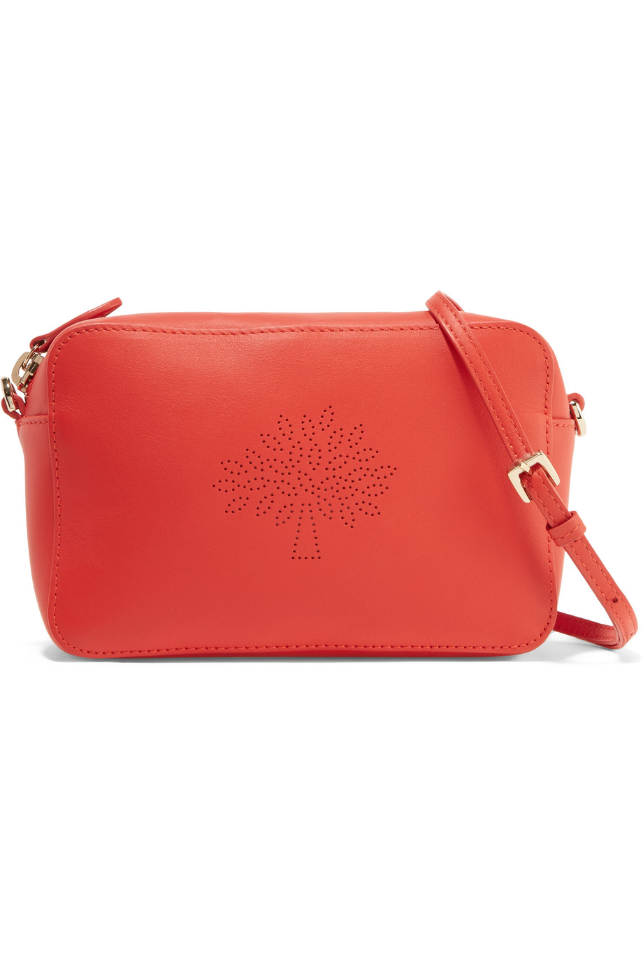 Mulberry Blossom Perforated Leather Shoulder Bag, Red, Women's