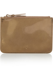 Metallic patent-leather pouch