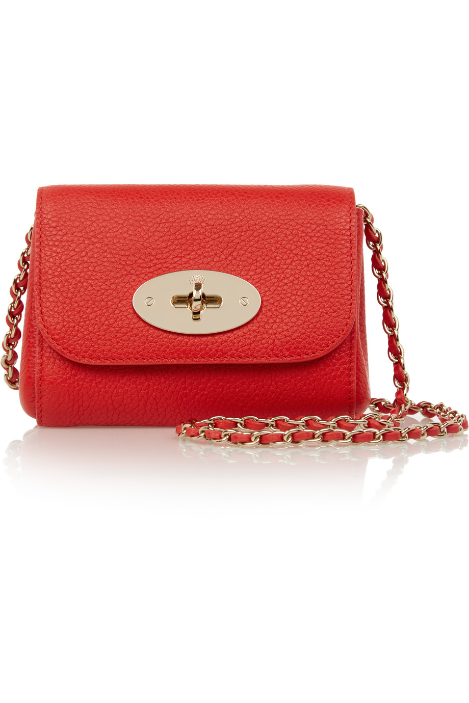 Mulberry Lily Mini Textured-Leather Shoulder Bag, Crimson, Women's