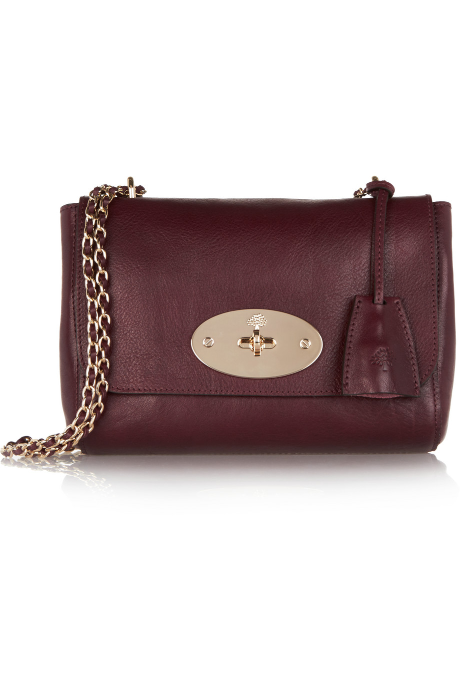 Mulberry Lily Small Textured-Leather Shoulder Bag, Burgundy, Women's