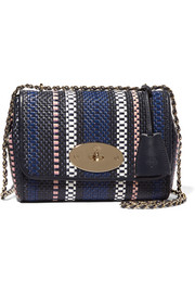 Lily small woven raffia and leather shoulder bag