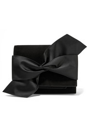 Bow-embellished suede clutch