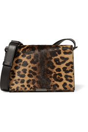 Leopard-print calf hair and leather shoulder bag