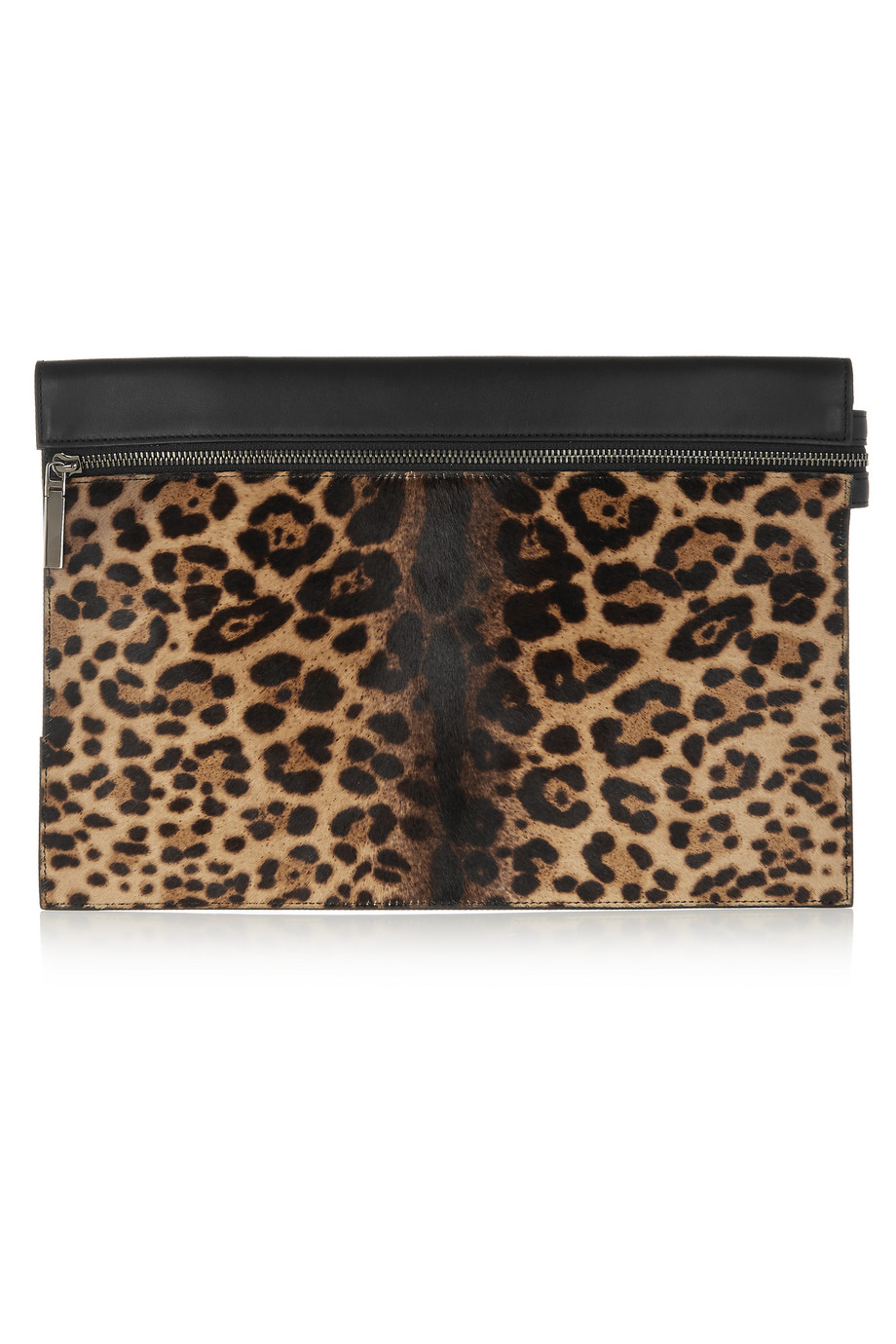 Victoria Beckham Large Leopard-Print Calf Hair and Leather Clutch, Leopard Print, Women's