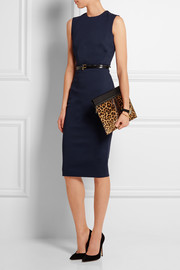 Large leopard-print calf hair and leather clutch