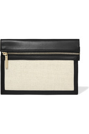 Small twill-paneled leather pouch