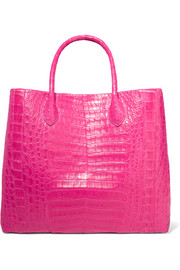 Medium glossed-crocodile tote