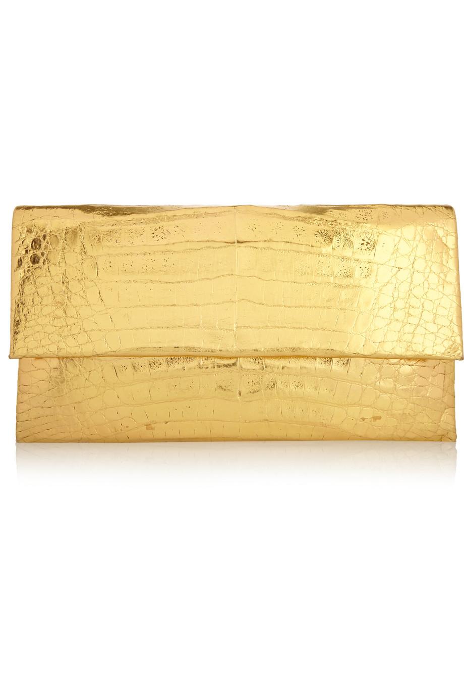 Nancy Gonzalez Metallic Crocodile Clutch, Gold, Women's