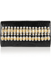 Embellished glossed-crocodile clutch