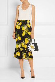 Nancy Gonzalez  Floral-appliqued glossed-crocodile tote