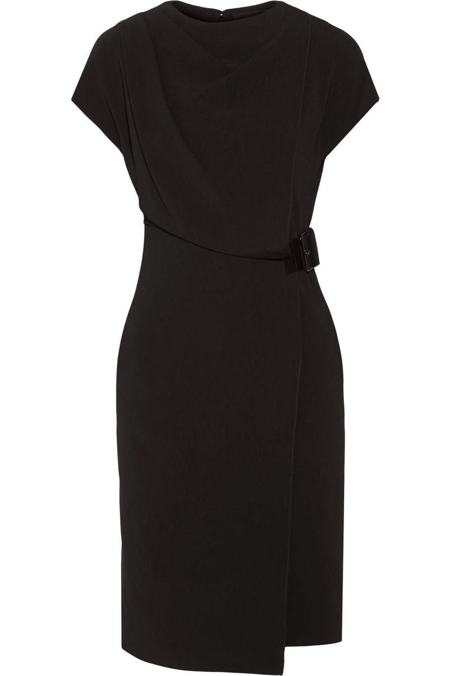 Alexander Wang Belted Wrap-Effect Stretch-Crepe Dress, Black, Women's, Size: 0