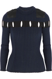 Cutout ribbed wool sweater