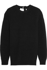 Split-back ribbed cotton-blend sweater