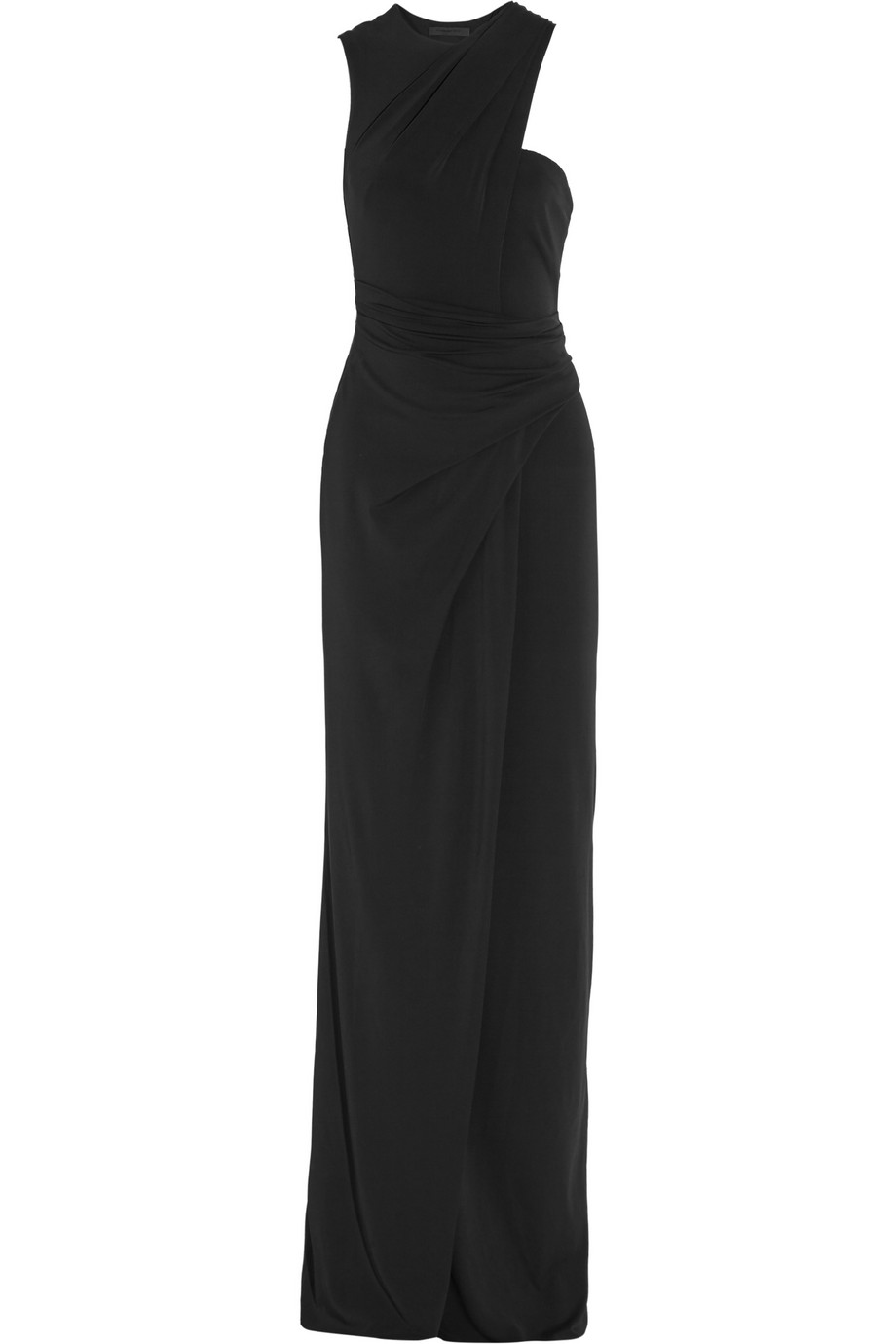 Alexander Wang One-Shoulder Draped Stretch-Crepe Gown, Black, Women's, Size: 2
