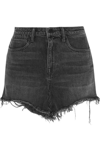 Bite Clash Terry-Lined Denim Cutoff Shorts, Black