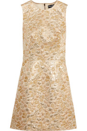 Metallic brocade mini dress