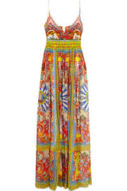 Carretto printed silk-chiffon maxi dress