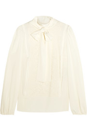 Dolce & Gabbana Pussy-bow lace-paneled silk-blend chiffon shirt