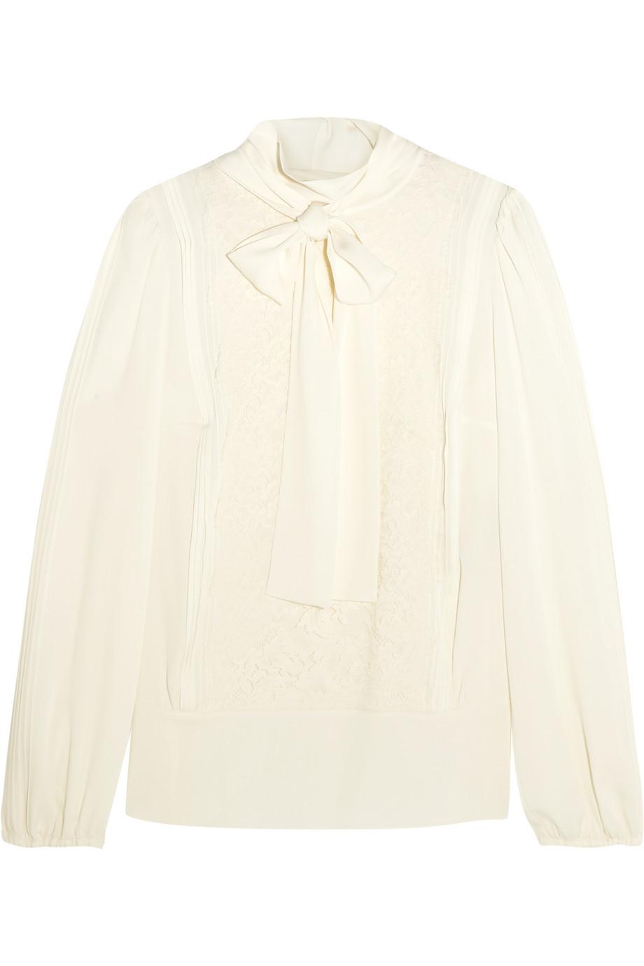 Dolce & Gabbana Pussy-Bow Lace-Paneled Silk-Blend Chiffon Shirt, Ivory, Women's, Size: 44