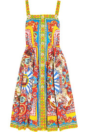Dolce & Gabbana Printed cotton-poplin midi dress