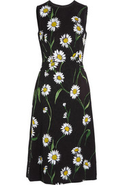 Daisy-print brocade midi dress