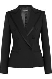 Satin-trimmed stretch wool and silk-blend blazer