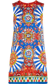 Carretto printed matelassé mini dress