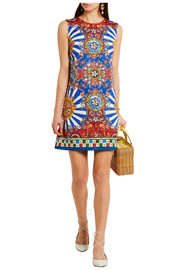 Dolce & Gabbana Carretto printed matelassé mini dress