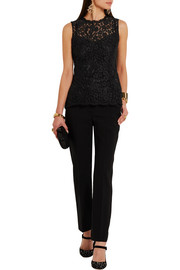 Dolce & Gabbana Satin-trimmed stretch wool and silk-blend tapered pants