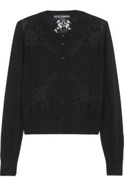 Dolce & Gabbana Lace-paneled cashmere and silk-blend cardigan